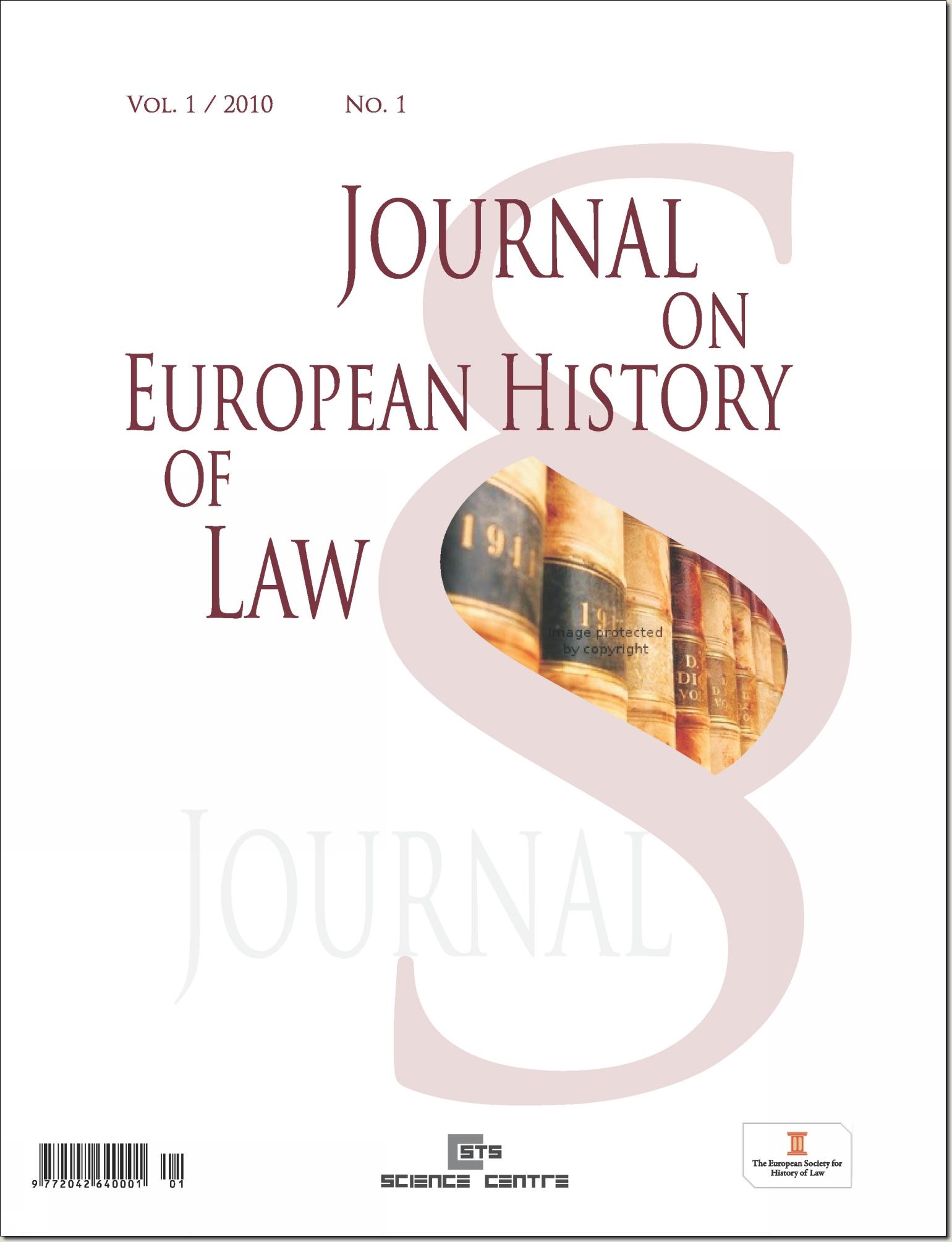 Časopis - JOURNAL ON EUROPEAN HISTORY OF LAW